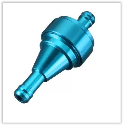 ALU palivový filtr pro motocykly na průměr hadičky 8mm modrý