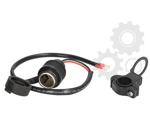 Vodotěsná zásuvka 12V s držátkem na říditka - krátký kabel