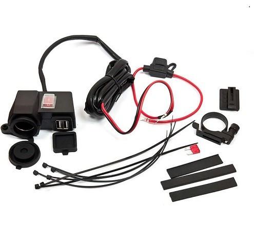 Vodotěsná COMPLETE zásuvka 12V/USB s ALU držákem