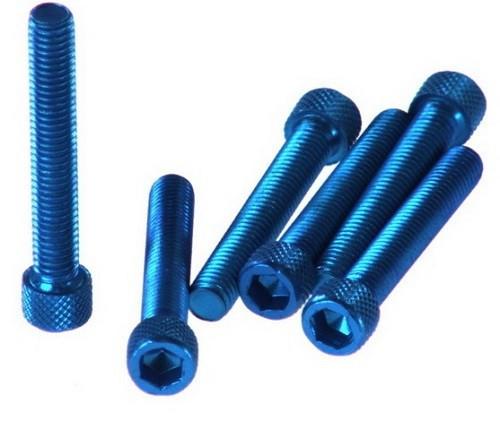sada 6ks šroubů M6x45 imbus - modrý