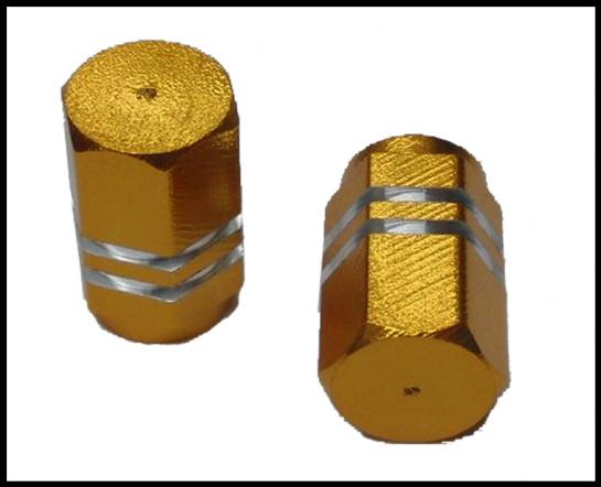 Čepičky ventilků HEXAGON zlaté