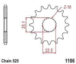 Řetězové kolečko TRIUMPH 1200 Thruxton, R rok 16-19