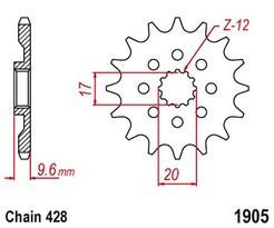 Řetězové kolečko KTM 85 SX (malá kola) rok 18-20