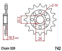 Řetězové kolečko DUCATI 821 Monster/Dark/Stripe rok 14-19