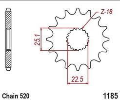 Řetězové kolečko TRIUMPH 900 Bonneville T100 rok 17-19