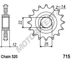 Řetězové kolečko GAS GAS 250 EC rok 01-15