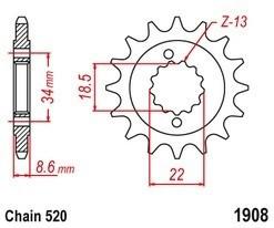 Řetězové kolečko KTM 390 Duke rok 13-16