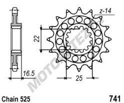 Řetězové kolečko DUCATI 1100 Hypermotard Evo rok 10-12