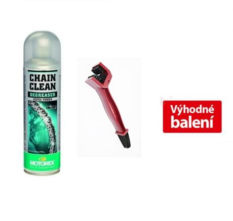 AKCE Sada MOTOREX - Chain Clean 611 - 500 ml + kartáč na řetěz