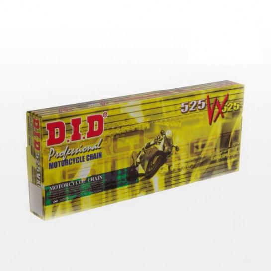 Řetěz DID 525 VX, X-ring, Zlatý GB, 124 článků
