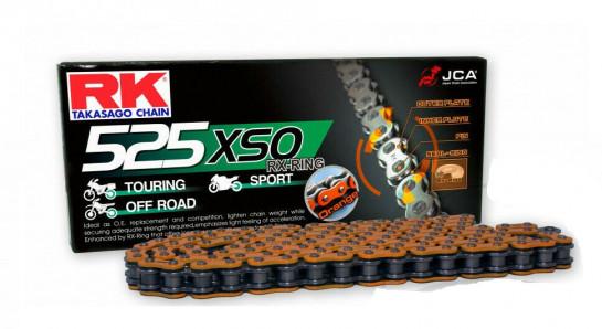 Řetěz RK 525 XSO, RX-ring, oranžový, 120čl., nýtovací spojka