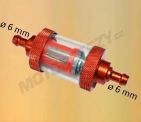 ALU palivový filtr pro motocykly na průměr hadičky 6mm